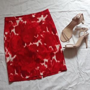 J.Crew Red Floral Pencil Skirt . Like New
